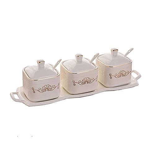 Spice opslag keramische vierkante kruiden jar creatieve keukengerei driedelige keramische kruidenkast Kruiden potten…