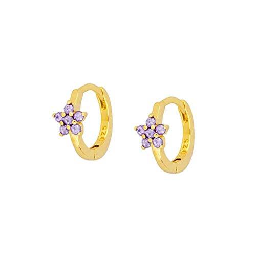 925 Sterling Silver Elegant Purple Cubic Zirconia Series Stud Crystal Flower Ear Stud Jewelry For Women Girls Gift-40