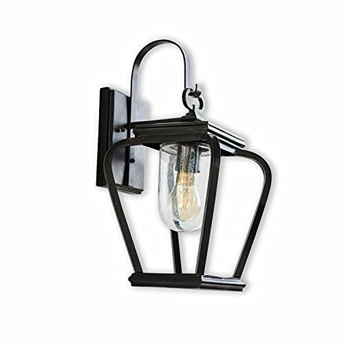 Loberon Außenwandlampe Millefleur, Eisen, Glas, H/B/T 46/27/23 cm, antikschwarz