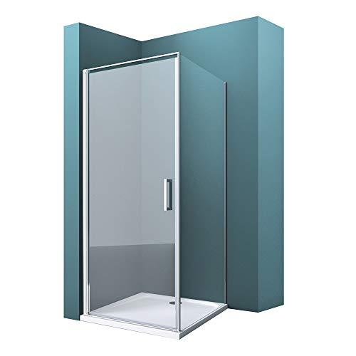 Mai & Mai Mampara de ducha de esquina con puerta pivotante 80x100x195cm cabina de ducha de vidrio transparente con nano revestimiento y marco aluminio, plato de ducha incluido R36K