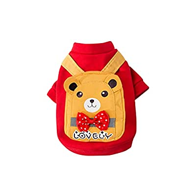 BOSERMEM Dog Hoodies, Winter Hooded Small Dog Pet Clothing Dog Cat Clothes Cute Pet Clothing Warm Hooded For Small And Medium Pets?XS, Red bear?