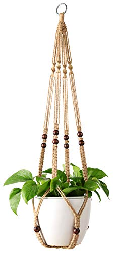 Mkono Macrame Plant Hanger Indoor Hanging Planter Basket with Wood...