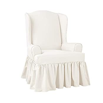 SureFit Home Décor SF46969 Essential Twill T-Cushion Wingback Chair Slipcover Relaxed Fit 100 Percent Cotton Machine Washable One Piece White Color