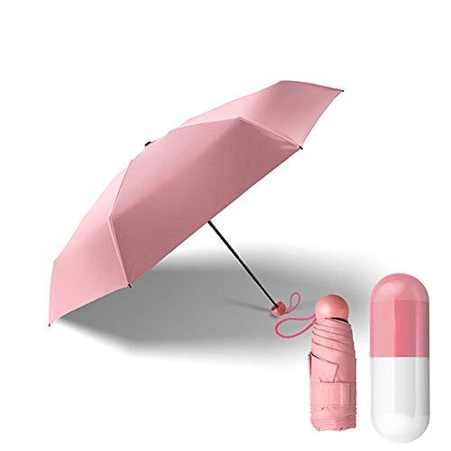 CAOLATOR Regenschirm Mini Taschenschirme mit Schwarzer Anti-UV Beschichtung, 5 Fach Schirm mit Elch Muster Sonnenschirm Klappschirme 6 verstärkten Rippen Klein, Leicht Kompakt für Damen Herren (Rosa)