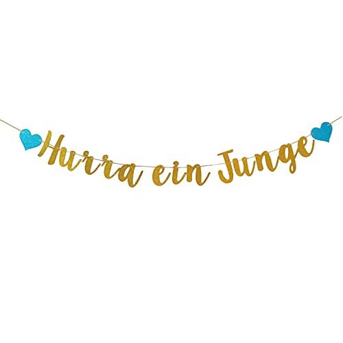 Guirnalda azul para baby shower para niño Hurra, guirnalda de banderines para bautizos, bautizos y fiestas de nacimiento, para niños