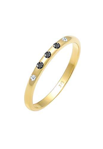 Elli PREMIUM Ring Damen Bandring Weiß Schwarz mit Diamanten (0.10 ct.) in 375 Gelbgold