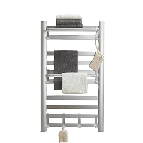 Toallero eléctrico pared 10 bars Calentador de Toallas eléctrico para baño 160W, Radiador de baño Calefacción toallas o ropa secador Apto para Baños Programable Temporizador Alimentado,Plata