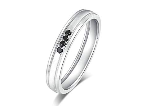 Aimsie Mujer Unisex AU 750 oro blanco 18 quilates (750) redondo negro Diamond