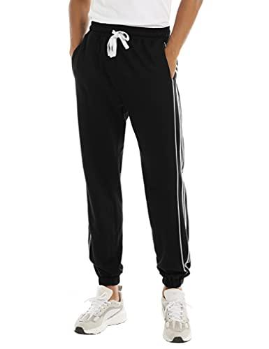 Pantalones Deportivos Hombre, Pantalones de Chándal para Hombre Pantalones de Deporte de Algodón Pantalones Largos Hombre Pants de Cintura Ajustable con Bolsillo para Pijama Fitness Casual