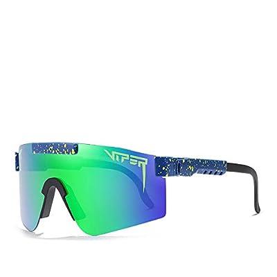 Original Pit Viper Polarized Bike Sunglasses for Cycling Men Women Sports Fishing Golf Baseball Running Glasses Double Wide Polarized Mirrored Blue Lens Tr90 Frame Uv400 Protection (012)