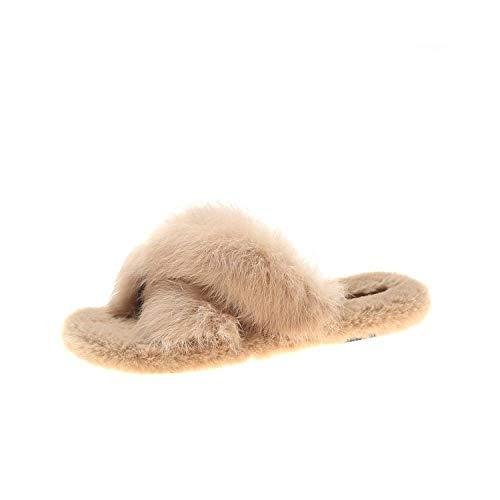 YANSHOU Hombres y Damas Caliente Zapatillas de Espuma,Casual Fur Slippers, Fashionable Cross Fur Slippers-Apricot_38,Zapatillas de Lana de Invierno