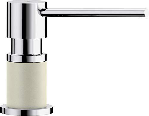Blanco LATO – Einbau Spülmittelspender für die Küchenspüle – leichte Befüllung von oben – 500 mL Behälter – Jasmin / Chrom – 525812