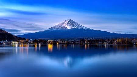 adrium Leinwand-Bild 80 x 60 cm: Fuji Mountain and Kawaguchiko Lake in Morning, Autumn Seasons Fuji Mountain at yamanachi in Japan, Bild auf Leinwand