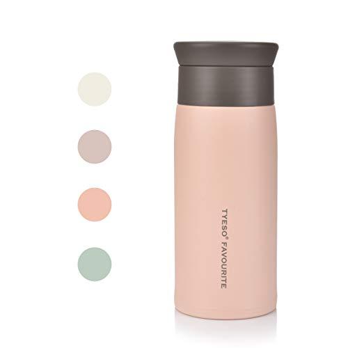 Vaso térmico de acero inoxidable 304 de CCKOLE, taza de café para llevar, a prueba de fugas, superficie mate, gran capacidad con mango largo plegable, Rosa., 350 ml