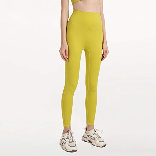Lankfun Leggings Deportivos de Tiro Alto para Mujer Medias Entrenamiento,Pantalones de Yoga para Nalgas Desnudas de Cintura Alta para Mujer-Yellow_Large,Fajas Yoga Leggings