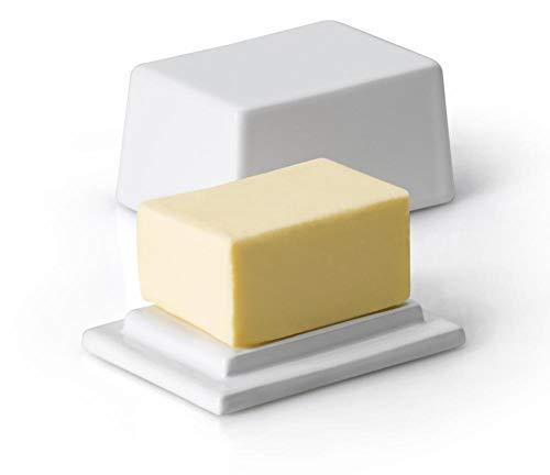 Continenta Beurrier en céramique avec Couvercle, pour 125 g de Beurre, Dimensions : 9,5 x 7 x 6 cm