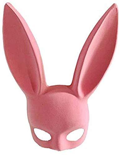 qingtianlove-Mscara de Halloween Flocado Mscara de Oreja de Conejo Bunny Girl Mscara Bar Ktv Party Mscara de Media Cara Orejas largas Cosplay Mscara Interesante y Sexy Costu, Rosa