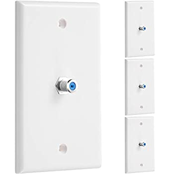 4 Pieces 1-Port TV Cable Wall Plate F Connector Wall Plate Coax Wall Plate Video Wall Jack Single Gang Wall Plates  Blue