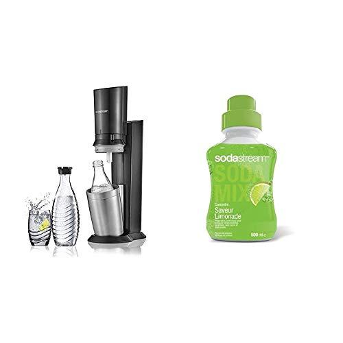 sodastream Pack Spécial Machine Crystal en Alu Brossé Gris/Noir + 2 Carafes en Verre de 0.6L Réutilisables à l'Infini pour Préserver la Qualité & Concentré Saveur Limonade 500ml