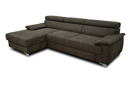 DOMO Collection Niria Ecksofa | Eckcouch mit Schlaffunktion und Rückenfunktion | Sofa L Form Couch, Schlafsofa, anthrazit, 271x167x78 cm