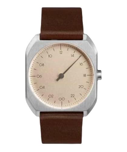Slow Mo 08 - Reloj suizo unisex de 24 horas plateado, con suave correa de cuero marrón oscuro