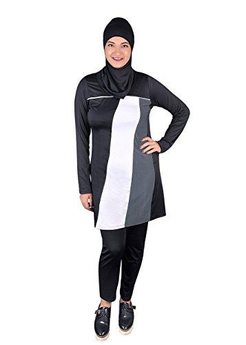 Egypt Bazar Ganzkörper islamischer Badeanzug im Burkini Stil muslimischer Schwimmanzug Hijab (40-42 (M), schwarz-grau-weiß)