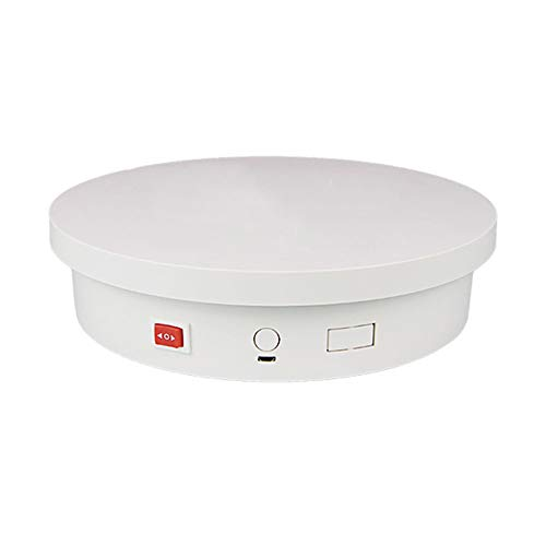 HHXD Base Giratoria Eléctrica USB,Plataforma Rotatoria para Fotografía,360° Mostrar producto/Blanco / 25cm×6cm