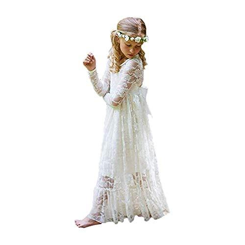 XEJ Mädchen Prinzessin Kleid Spitzen BlumenMädchen Kleid Festkleid Lange Ärmel,Elfenbeinweiß, 86 cm (8-9 Jahre),(Herstellergröße 130)