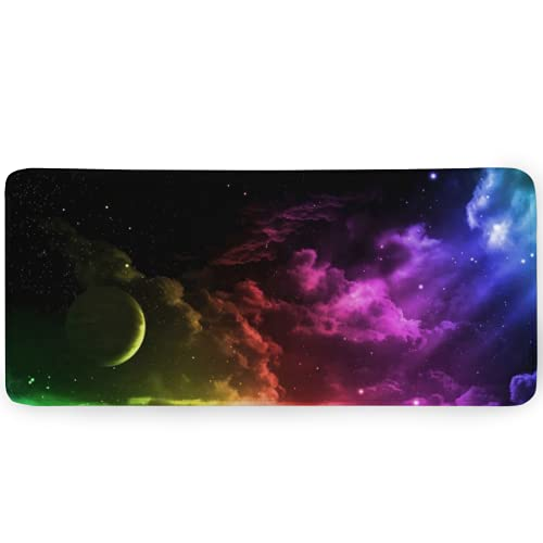 Aoliaofc Galaxy Mouse Pad Aurora Mousepad Colorful Gaming Mouse Pad Home Office Computer Accessories Nonslip Rubber Base Mouse Mat 35.4'x15.7'