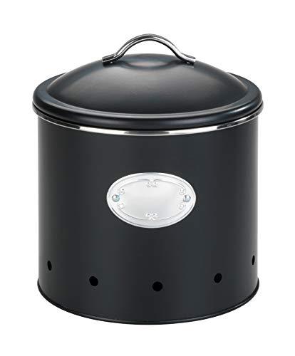 WENKO Aufbewahrungsdose Nero mit Löchern 4 Liter, luftdurchlässig für optimale Luftzirkulation, aus lackiertem Metall, Ø 18,7 x 21 cm, Schwarz
