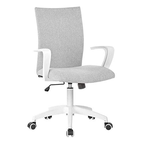 Office Chair Ergonomic Mid Back Swivel Chair Height Adjustable Lumbar Support Computer Desk Chair with Armrest (Grey and White)