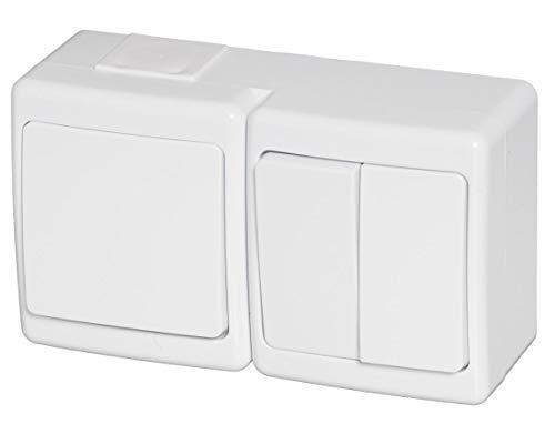 Interruptor/serie combinado, montaje en superficie, IP44, color blanco