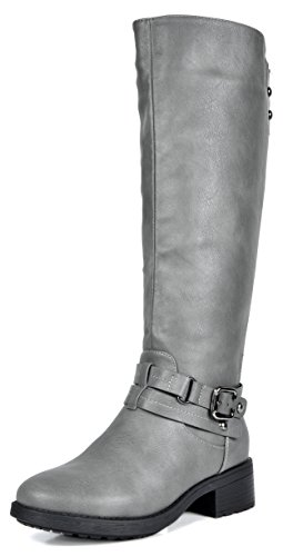 DREAM PAIRS Women's Uncle Grey Knee High Motorcycle Riding Winter Boots Size 8 M US