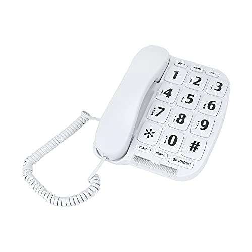 Telefono Fisso per Anziani Telefono Fisso Casa con numeri grandi e amplificazione del volume-Bianco