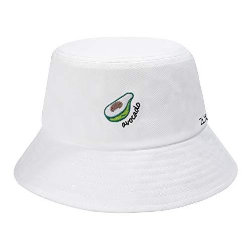 ZLYC Unisex Mode Bestickte Fischerhüte Sommerhut Outdoor-Hut Für Jugendliche (Avocado Weiß)