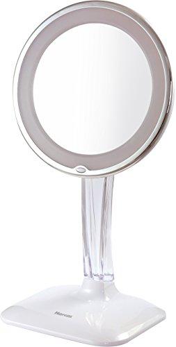 Espejo De Maquillaje De Vanidad Harcas Con Luces. Espejo Iluminado De 7X Con Leds. Bueno Para Maquillaje, Afeitado, Cepillado De Dientes, Depilado Y Para El Cuarto De Baño O Viajes. Blanco