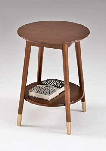 Cappuccino Finish Mid Century Round Side End Table with...