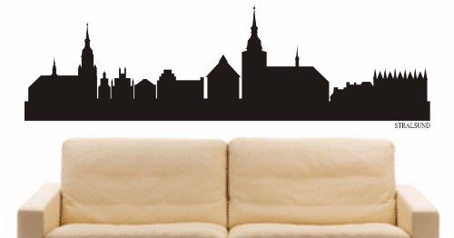 INDIGOS UG - Wandtattoo Wandsticker Wandaufkleber Aufkleber - Wandaufkleber e888 Skyline Stadt - Stralsund (Deutschland) Design 1-96x24 cm - schwarz - Dekoration Küche Bad Büro Hotel