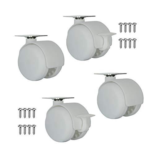 QC-ELLIE5022P 4 Ruedas para muebles 2 con freno y 2 sin freno. Diámetro 50mm con placa de montaje y tornillos incluidos....