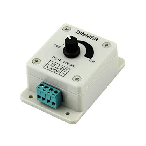 Bellaluee Regulador de Brillo Ajustable regulador de luz LED DC 12V 8A para Accesorios de lámpara de luz de Tira LED