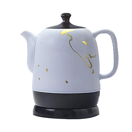 WYZQ EleActric Bouilloire sans Fil en céramique théière-rétro Rouge 1,5L, 1380W Rapide à l'eau pour Le thé, Le café, la Soupe, la Base Amovible à l'avoine, la Protection Contre l'ébullition à Sec