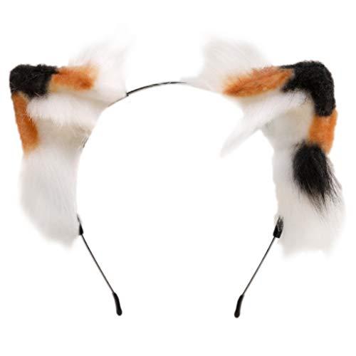 Qiman 2 piezas de pelo sinttico de tres colores con orejas de gatito para Navidad, Halloween, fiestas, festivales, cosplay, accesorio para disfraz para mujeres y nias