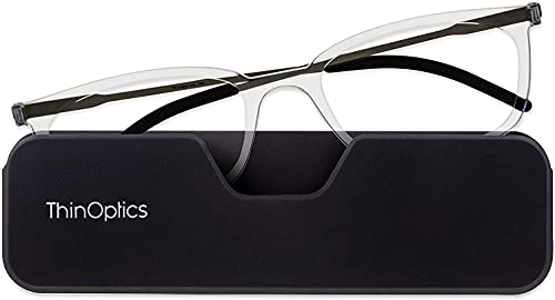ThinOptics Gafas de lectura ultrafinas +3.0 - Funda magnética para teléfono – marcos transparentes, gafas de lectura unisex para hombres y mujeres