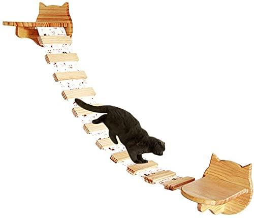 HC - Tiragraffi da parete modulabile, per gatti, in legno, con ripiani per arrampicarsi, centro attività/gioco per gatti, mobili per gatti (legno)