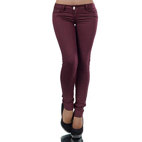 Damen Jeans Hose Hüfthose Damenjeans Hüftjeans Röhrenjeans Röhrenhose Röhre H937, Farbe: Bordeaux, Größe: 38 (M)