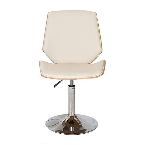 Lwjby Bureaustoel, houten kunstlederen stoel vintage retro eetkamerstoel