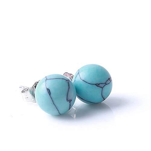 Muzhili3 Damen-Ohrringe / -Ohrstecker, schlichtes Design, Türkis, Marmorkugel blau