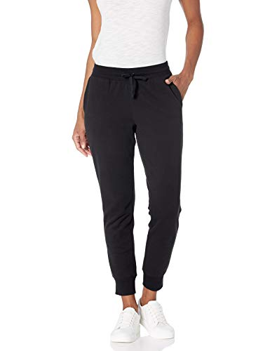 Amazon Essentials Women's Relaxed Fit French Terry Fleece Jogger Sweatpant, black, Large