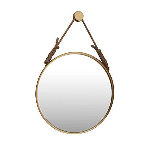 HLWJXS Espejo de Maquillaje Nórdico de Baño Colgando con Cuerda de Cáñamo Y Fijaciones Colgantes de M de Metal Pintura de Alta Temperatura,Diámetro 80Cm,Diámetro 80Cm