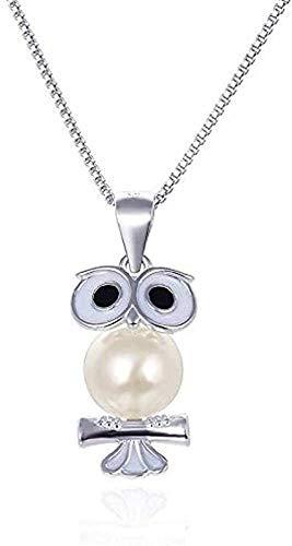 LBBYMX Co.,ltd Collar Pequeña Cadena de Clavícula Fresca Joyas Plata Goteo Aceite Búho Collar de Perlas Colgante Collar de Mujer